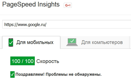оценка google.ru в Pagespeed Insights